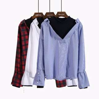 [PO/INSTOCK] korean ulzzang two-piece long sleeved blouse top
