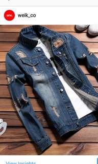 Ripped Denim Jacket Oversized Long Sleeve Denim's Outer Wear