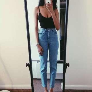 Mom jeans 高腰顯腿長牛仔褲