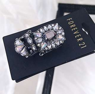 Forever 21 Crystal Armor Statement Chunky Connector Ring