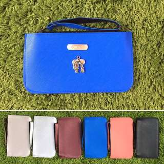 Custom Flat Zipper Pouch with 2 Compartments Saffiano Light Blue FREE SHIPPING Many Colours & Charms