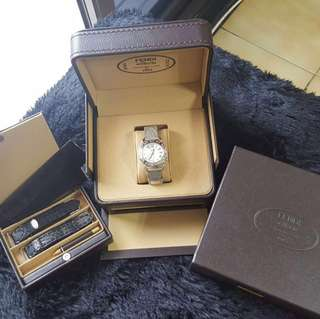 超重量級!全新 Fendi 原廠真品 超高質感 超大型 皮革錶盒 首飾盒