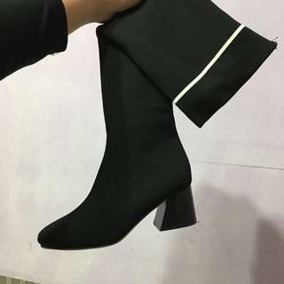 🚚 方頭低跟高筒長筒襪靴