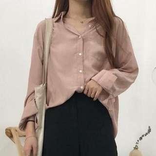 🚚 韓版百搭純色長袖襯衫