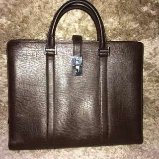 Gucci Leather Documents Bag dark brown briefcase 114262