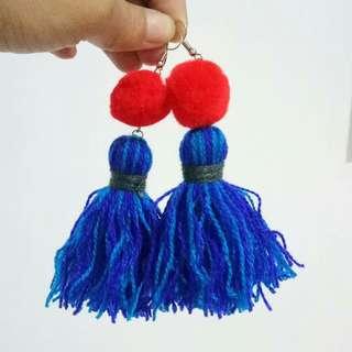 Electric Blue-Red Tassel Jellyfish Earrings