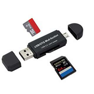 (PREORDER1) Micro USB OTG to USB 2.0 Adapter; SD/Micro SD Card Reader With Standard USB Male & Micro USB Male Connector For Smartphones/Tablets With OTG Function - intl