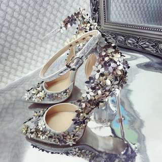 ♥️特價包郵♥️韓版鑲鑽時尚款花朵松糕高跟涼鞋夏(Size:34-39)