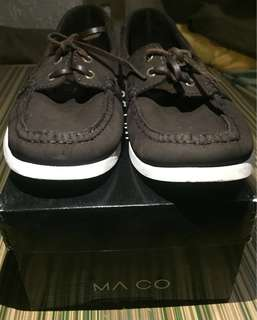 JS18 MA CO leather dark broqn loafer-boat shoes size 10us