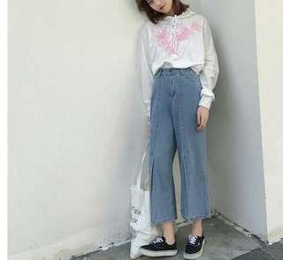 Retro High Waisted Jeans straight slit wide leg pants