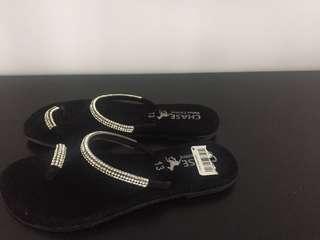 Brand New Black Velvet Flip Flops