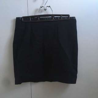 Black Pencil Skirt with Leather Band size 6