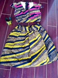 Batik African designer 2 piece Crop top and skirt. Ankara Nanawax