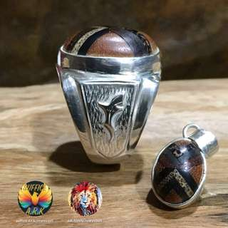 C. Items : 7 Kinds of Wood with 925 Silver Ring & Locket. {Housing by Suffice.A.R.K. & Wood Art by Adi.fazely}