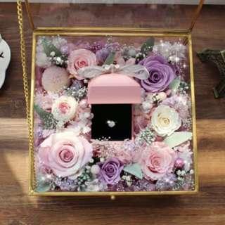 求婚戒指💍花朵玻璃盒(永生花)🌹