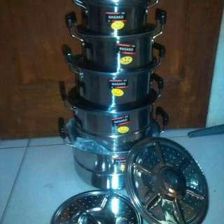Panci NAGAKO set stainlees 10pcs dengan 2 STEAMER(KUKUSAN)