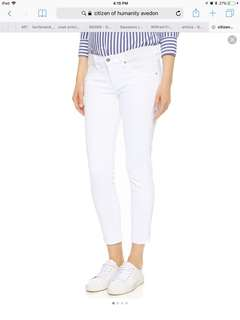Citizen of humanity white ankle skinny jeans