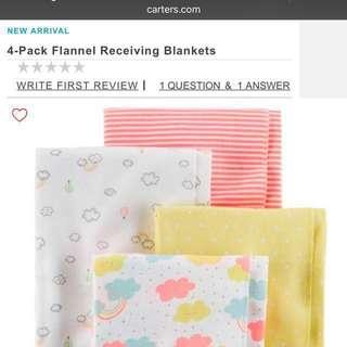 Carters blanket and burp bibs cloth