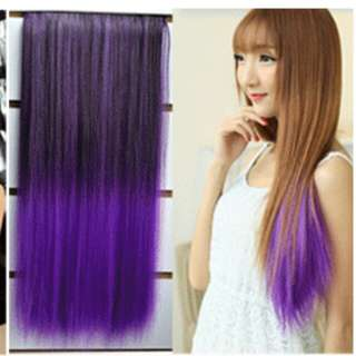 *Instock from PO Ombre purple dip dye gradient clip on straight hair extension *Brand new in package *pm if int