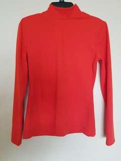 H&M Orange Long sleeve turtle neck top size M