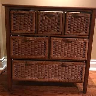 Wooden & wicker drawer