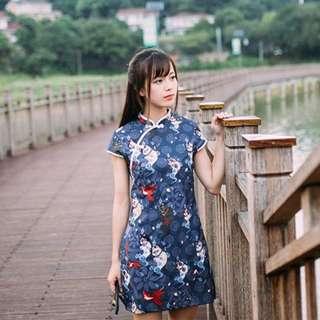 【黑店】原創設計 中國風日本貓妖合身旗袍洋裝 和風旗袍短洋裝