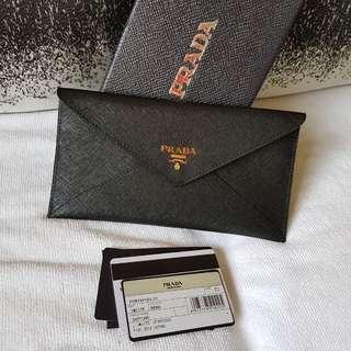 Authentic Prada 1M1175 Portafoglio Saffiano Nero Envelope Wallet