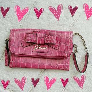 Guess Lulin Pink Croc Leather Bow Wristlet Clutch