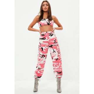 Misguided Pink Camo Pants Trousers Festival