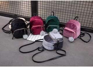 Korean Velvet small backpack