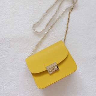 Mini Bag with Gold Strap - Yellow
