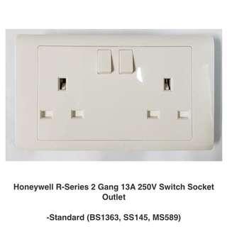 Honeywell 2 Gang 13A Switch Socket