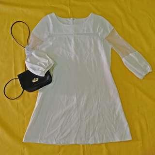 Off white net-designed dress