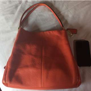 Like New Coach Madison Phoebe Pebbled Leather Shoulder Hobo Bag VERMILLION (Red/Orange)