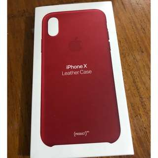 Authentic Apple Leather Case for the iPhone X (Product Red)