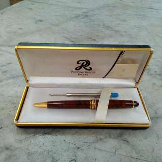 Brown Marble Lacquer Philippe Renoir Paris Ball Pen Vintage