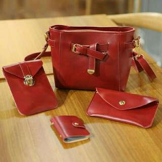 LEATHER PU 4 in 1 Sling Bag