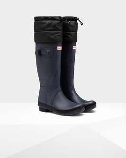 BNIB Hunter Quilted Cuff Navy & Black Rain Boots 6