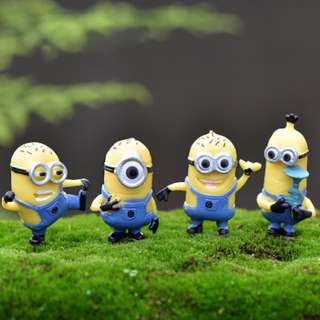 4 pcs Minions Cake Topper Terrarium Plant Figurine Toy Cupcake Toppers Cupcake
