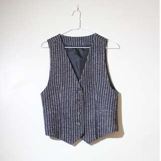 日本製 深灰色 條紋 毛料 西裝背心 馬甲背心 開襟 獵裝 工裝 diesel rrl nudie 可參考
