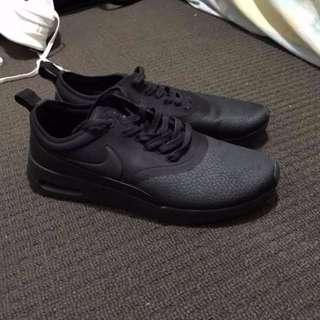Original Nike Thea Triple Black Leather Unisex