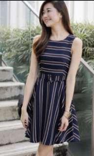 BNWT 3inute Rosanne Stripes Belted Dress