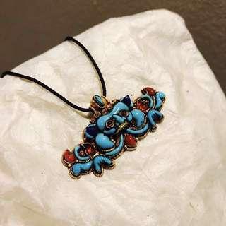 【神獸】藏傳精品老黃金寶石支巴扎墜子掛飾