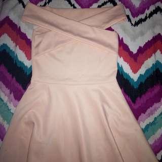 Peach Crisscross Off Shoulder Dress