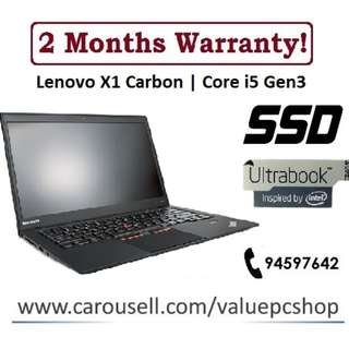 [SSD Core I5 Gen3 Laptop] Lenovo X1 Carbon: 8GB RAM! 1.3KG Ultrabook!