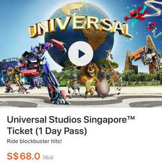 Discounted Universal Studios Singapore Ticket ( 1 Day Pass )