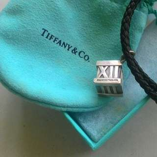 ORIGINAL Tiffany & Co. Men leather Necklace with sterling silver CUBE