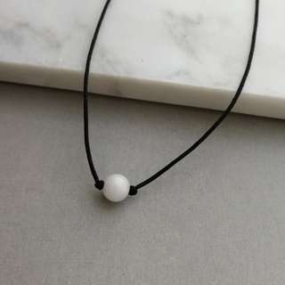 Natural white quartzite necklace / pendant (black string)