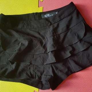 Black Ruffled Sexy Short