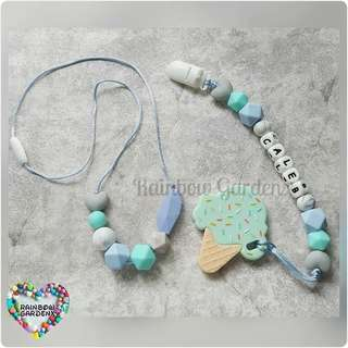 Handmade beads necklace & Pacifier Clip with customisation of name + ice cream teether